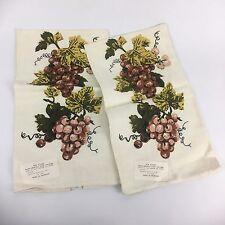 VTG 2pc Set Mid Century Linen Kitchen Towels Romania Grape Leaves Mediterranean