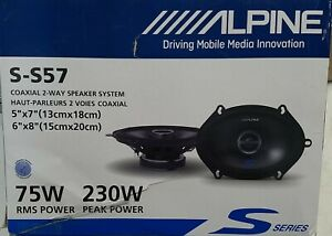 "Alpine  S-S57 S-Series 5""x7"" 230 Watts Peak Power Coaxial 2-Way Car Speakers"