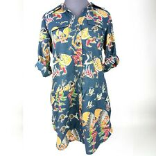 Taska Polizzi Blue Tunic Top Medium Snap Button Roll Tab Sleeve Rain Dance