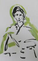 "JOSE TRUJILLO Large Acrylic Painting New Art Original 26x40"" Green Woman Figure"