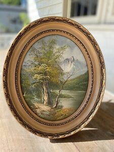 Old Oil Painting LANDSCAPE RURAL MOUNTAINS TREES Picture GILT Oval FRAMED