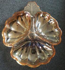 Vintage Fenton Marigold Carnival Glass Clover Candy Dish Bowl Iridescent