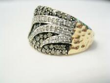 WIDE 10K YELLOW & WHITE GOLD 1.25 CTW. PAVE CHAMPAGNE & COLORLESS DIAMOND BAND