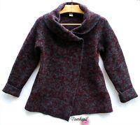 ELLEN TRACY Wool Sweater Jacket Women's sz L Crossover Cardigan Gray Burgundy