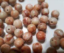 10 perles semi précieuses gemmes JASPE netstone 8mm rouge et blanc //32