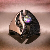 Unique Rainbow Topaz Rose Gold Two Tone Ring Black Gold Filled Wedding Jewelry