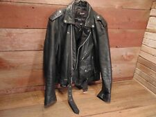 "Vintage RARE 80's Wilsons Leather Thinsulate Black Bike Jacket ""CRUISER CLUB"""