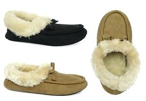 New Ladies' Luxury Moccasin Slipper Shoe Faux Fur with In/outdoor rubber sole