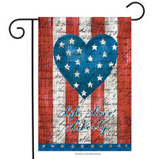 "American Heart Primitive Garden Flag Patriotic 12.5"" x 18"" Rain or Shine"