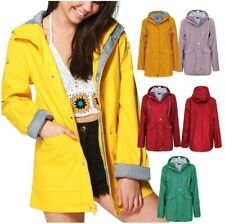 Womens Rain Mac Waterproof Festival Jacket Ladies Anorak Hooded Coats RainCoat x