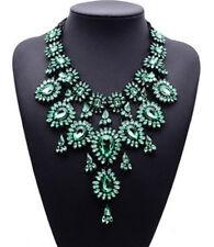 Grün Strass Blüte Glamour Design Statementkette Halskette Kette Collier schwarz