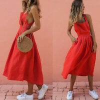 Fashion Women's Lady Summer Sleeveless Long Dress Party Beach Sundress
