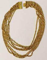collier bijou vintage 7 rangs mailles relief couleur or attache gravé * 3426