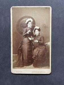 Victorian Carte De Visite CDV: Elegant Ladies Parasol Book: Bustin Hereford Ross