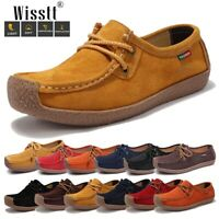 Womens Walking Suede Leather Driving Moccasin Lace Up Flats Loafers Casual Shoes