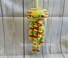 Handmade Crochet Jellyfish Decoration / Toy / Photo Prop - Red, Yellow, Green