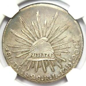 1828-DO RL Mexico Republic 8 Reales Coin 8R - NGC AU Details - Rare Date!