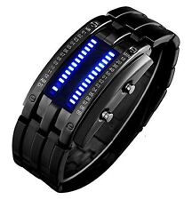 Binary Matrix Blue LED Digital Waterproof Watch Mens Classic Creative Fashion...