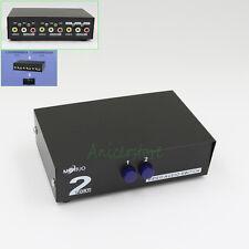 2 Port Manual Video Audio RCA AV Switch Selector Switcher Splitter Box