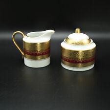Faberge Imperial Heritage Sugar Bowl & Creamer Red 24k Decoration