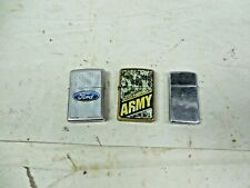 Zippo D 12 United States Army K 12 Ford  A V Cigarette Lighters Vintage Lot of 3