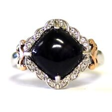 New 925 sterling silver 10k rose gold dyed onyx topaz ring 4.8g fashion ladies