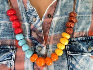 Unique Hand Made Primitive Ceramic Bead Necklace with Natural Leather String
