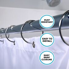 Chrome Simple Slide Shower Curtain Rings: Set of 12 Rust Resistant Curtain Rings