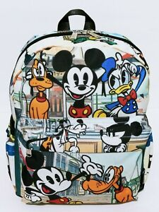 """Disney Mickey Mouse Mini 12"""" Backpack Purse Pluto Donald Duck Lady Travel Bag"""