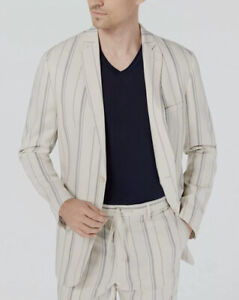 INC International Concepts Men's Linen-Blend Striped Blazer, Tan, Medium
