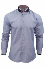Camicie casual e maglie da uomo a manica lunga blu con pois