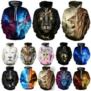 Unisex Galaxy Wolf Lion Tiger 3D Print Hoodie Sweatshirt Jumper Tops Jacket Coat