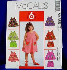 McCall's 4355 Girl's Dress, Shorts Cute Pockets Sewing Pattern 6 looks Sz 6-8