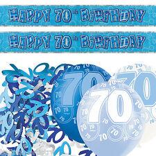 Blue Silver Glitz 70th Birthday Banner Party Decoration Pack Kit Set