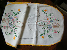 Beautiful Embroidered Table Runner Flower Basket Crochet Trim 34 x 13Inch Nice