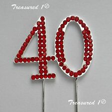 #Cake Pick Silver Topper Number 40 Forty Red Rhinestone Diamante GEMS Birthday