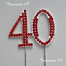 #cake PICK ARGENTO TOPPER numero 40 quaranta Rosso Strass Gems COMPLEANNO