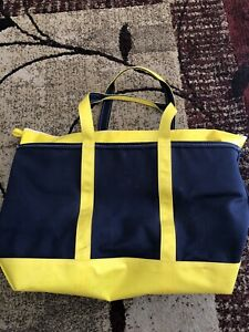 Large LL Bean Canvas & Vinyl Boat And Tote Bag Yellow & Blue Made in USA