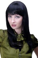Damenperücke SCHWARZ Gothic NIEDLICH & FRECH Pony glattes Haar lang 50 cm 3114-2
