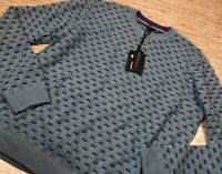 L-52 Ted Baker Pullover Sweater Blue Geometric Ribbed Crew Long Sleeve 46 New