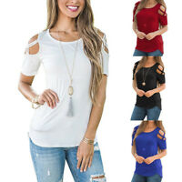 Women's Summer Strappy Cold Shoulder Tops Blouse Ladies Short Sleeve T-Shirt L