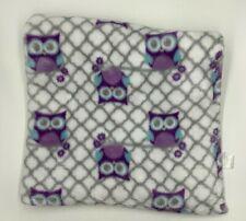 Lollypop Owl Purple Blue Gray Baby Blanket White