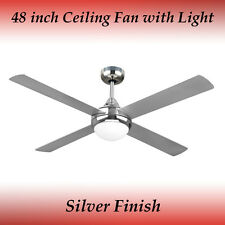 Fias Revolve 48 Inch Ceiling Fan in Brushed Chrome With Light