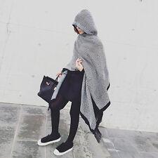 Women's Woolen Poncho Cape Sweater Scarf Tassel Big Blanket Winter Pashmina NEW