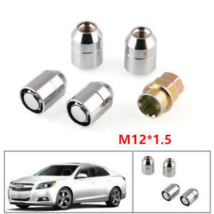 4+1Universal STEEL WHEEL LOCKS Nut M12x1.5 CHROME LOCKING LUG NUTS For Removing