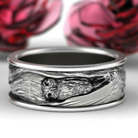 925 Silver Owl Animal Band Ring Women Men Fashion Jewelry Party Gift Size 7-12