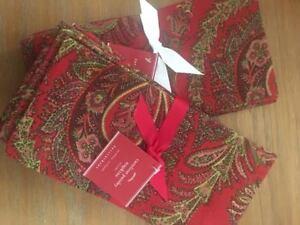 "13pc Pottery Barn Caroline Paisley 18x108"" Table Runner+12 Napkins Red Christmas"
