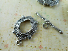 15 sets Silver Plated Ornate Oval Toggle Clasps Findings 43340