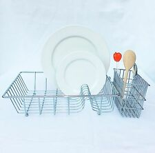 Chrome Heavy Duty Dish Rack Drainer Stand With Wire Cutlery Holder