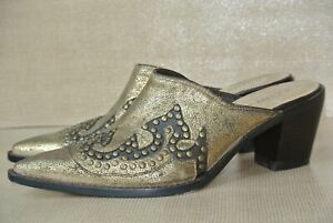 Kathy Van Zeeland Shanaia Women 7.5 M Gold & Brown Leather Western Slip On Mules